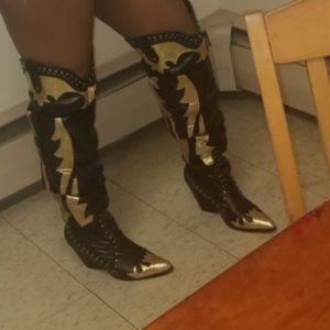 Black and gold Knee high cowgirl boots
